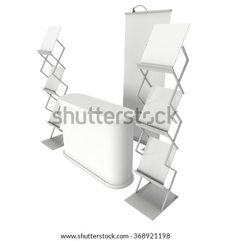 Trade show booth and magazine rack stand for magazines white and blank. 3d render isolated on white background. High Resolution. Ad template for your design.