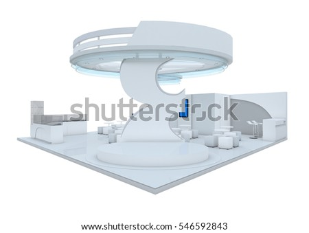 Trade show booth. 3d render isolated on white background