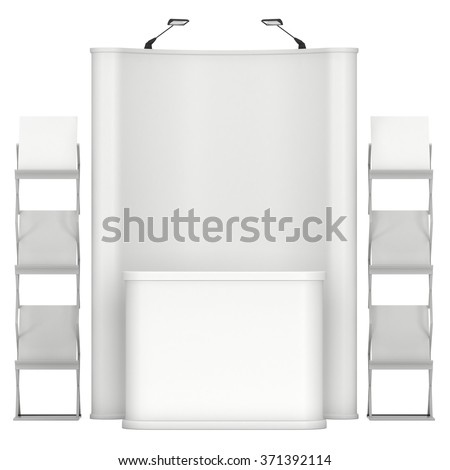 Trade show booth. Pop-up stand reception desk and magazine rack white and blank. 3d render isolated on white background. High Resolution. Ad template for your expo design.