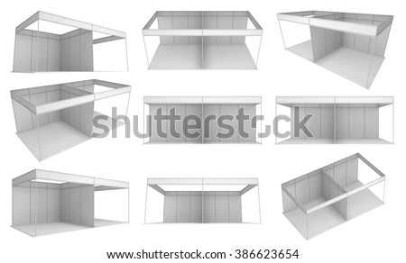 Trade Show Booth White and Blank Set. Blank Indoor Exhibition with Work Paths. 3d render isolated on white background. High Resolution Ad Template for your Expo design. - stock photo