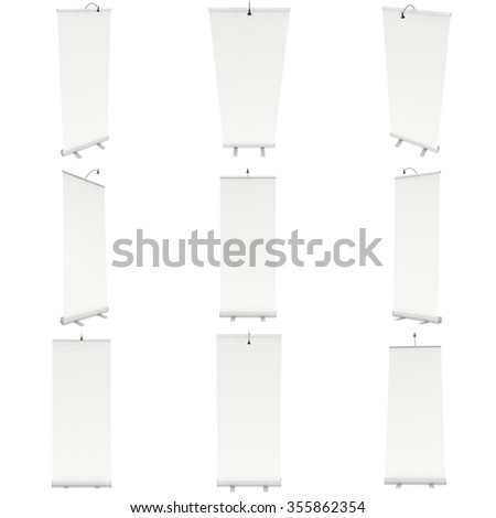 Trade show booth white and blank set. 3d render isolated on white background. High Resolution Template for your design. - stock photo