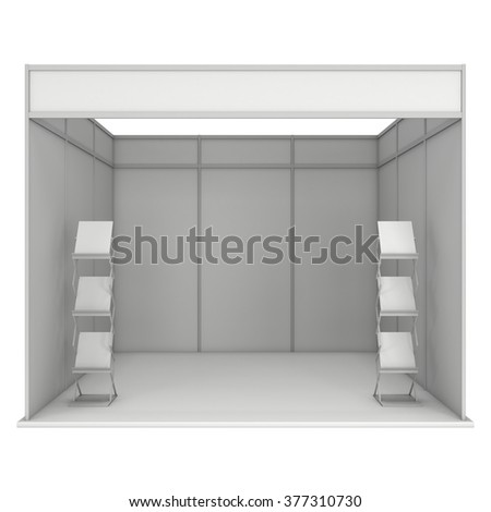 Trade Show Booth White and Blank with Brochure Display. Blank Indoor Exhibition with Work Paths. 3d render isolated on white background. High Resolution Template for your expo design. - stock photo