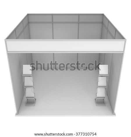 Trade Show Booth White and Blank with Brochure Display. Blank Indoor Exhibition with Work Paths. 3d render isolated on white background. High Resolution Template for your expo design.