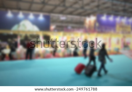 Trade show generic background. Intentionally blurred editing post production background. - stock photo
