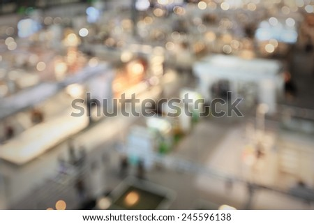 Trade show generic background. Intentionally blurred post production. - stock photo
