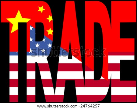 Trade text with Chinese and American flags illustration JPEG