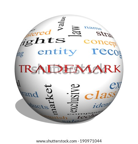 Trademark 3D sphere Word Cloud Concept with great terms such as brand, logo, legal and more.