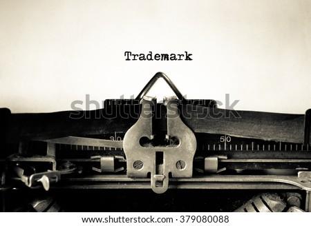 Trademark message typed on a vintage typewriter - stock photo