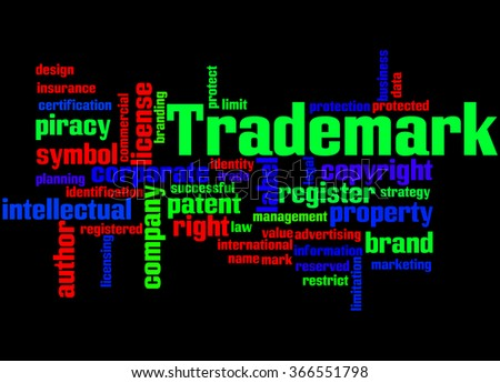 Trademark, word cloud concept on black background. - stock photo