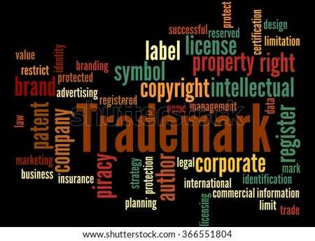 Trademark, word cloud concept on black background.