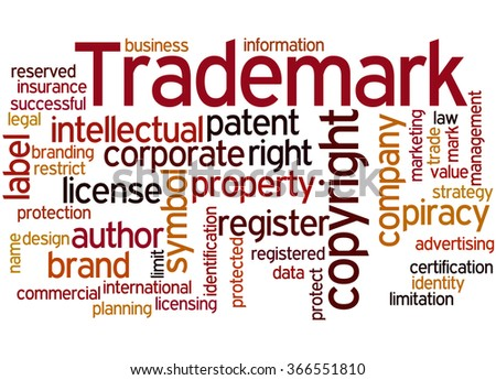 Trademark, word cloud concept on white background. - stock photo