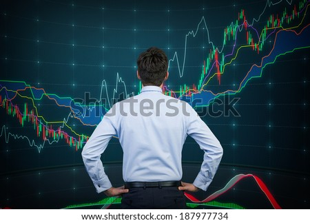 Trader and forex chart - stock photo