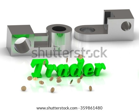 Trader- inscription of color letters and silver details on white background