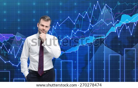Trader is standing in front of the forex graph. A metaphor of international financial consulting. Blue background. - stock photo
