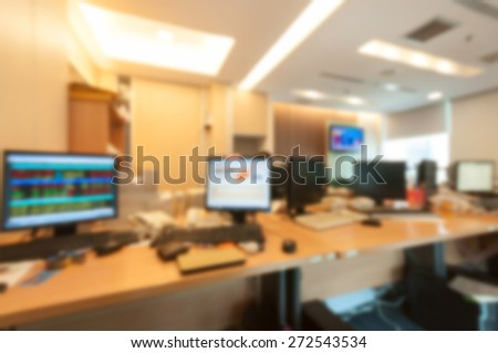 Trader room in office for stock analyze.Blur for background. - stock photo