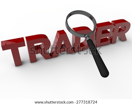 Trader with magnefier over white background - stock photo