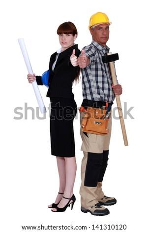 Tradesman and engineer - stock photo