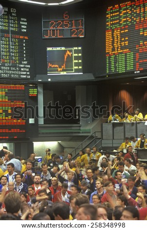 Trading Floor of the Chicago Mercantile Exchange, Chicago, Illinois - stock photo