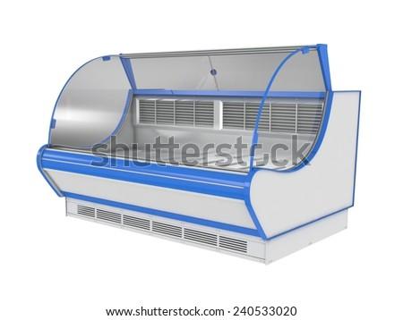 Trading showcase refrigerator isolated on white - stock photo