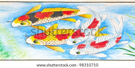 tradition Chinese Carp painting on Chinese temple wall at Huahin, Thailand