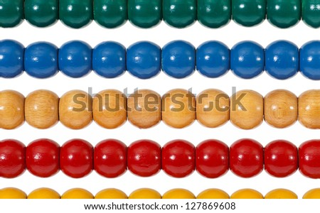 Traditional abacus with colorful wooden beads as a Detailed view in front of white background
