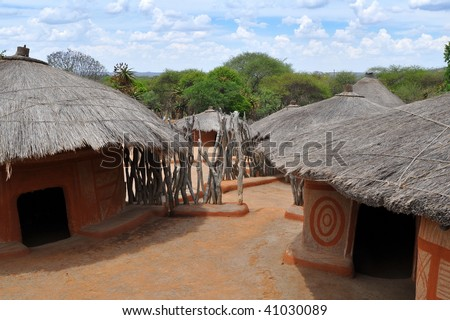 traditional african village,South Africa - stock photo