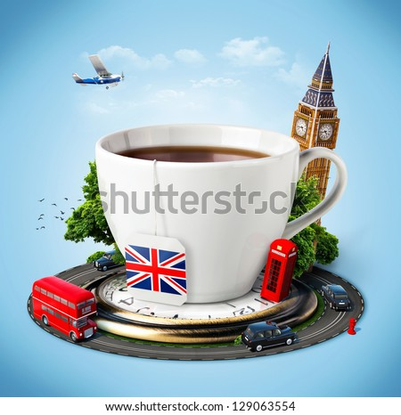 Traditional afternoon tea and famous symbols of England. Tourism - stock photo