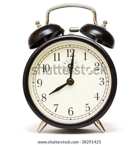 Traditional alarm clock isolated on a white background