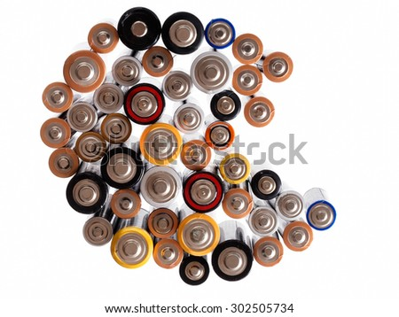 Traditional alkaline domestic batteries on white.Logos etc removed. - stock photo