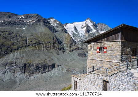 Traditional alpine hut with Grossglockner mountain view,Hohe Tauern National Park, Austria