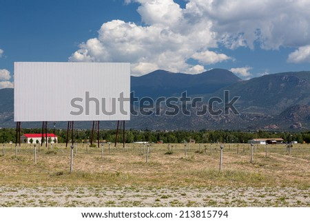 Traditional american drive in cinema or theater in Buena Vista Colorado that still shows movies several nights a week - stock photo