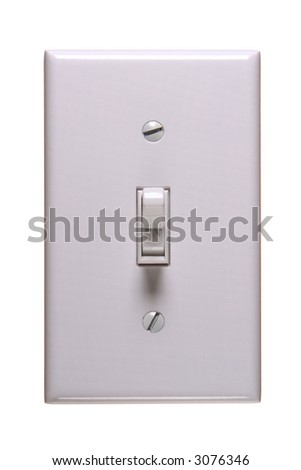 Traditional american electric switch in ON position - stock photo