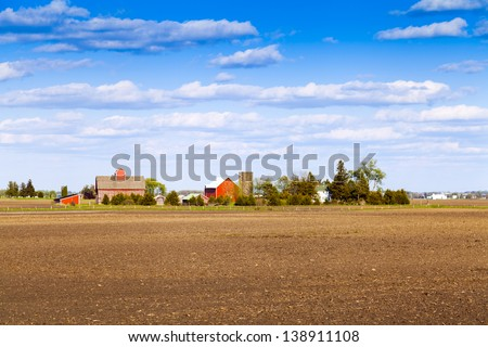 Traditional American Farm With Blue Sky - stock photo