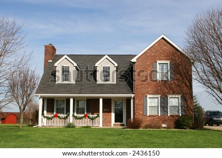 New roomy executive style house yellow stock photo 2098774 for Traditional american home