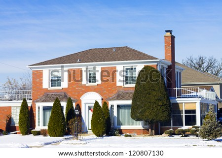 Traditional American Home in Winter - stock photo