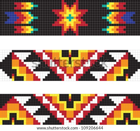 Traditional American Indian pattern,  illustrations - stock photo