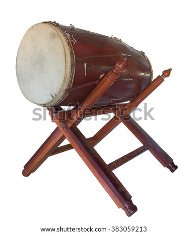 traditional ancient Asian drum in Buddhism temple on white background.