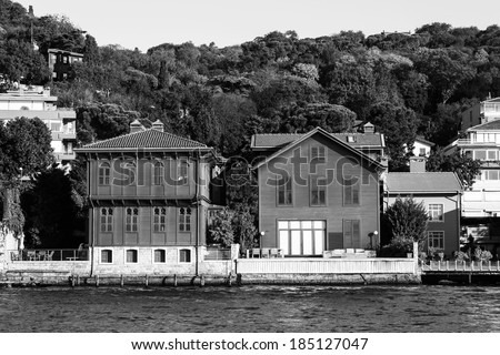 Traditional and modern mansions on the Bosporus Strait waterside, Turkey Istanbul