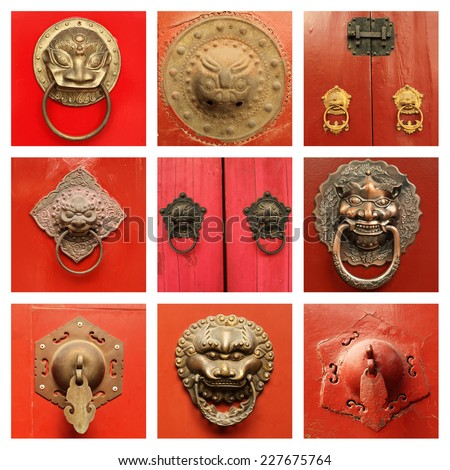 traditional  antique chinese  door knockers on red door collection,Beijing, China, Asia - stock photo