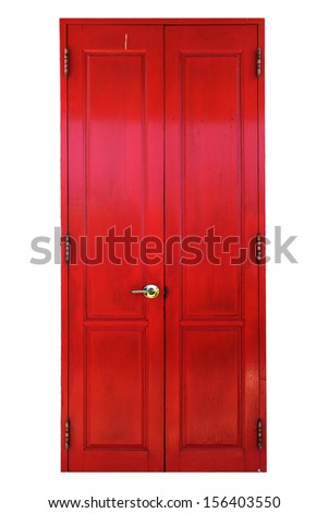Traditional antique wooden door isolated on white background - stock photo
