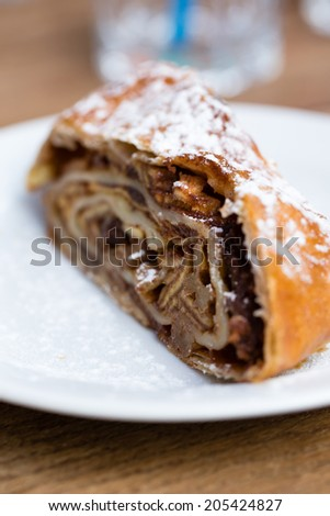 Traditional apple strudel with sugar