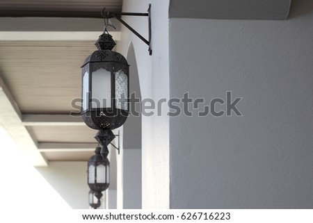 traditional arab moroccan lamp hanging on wall