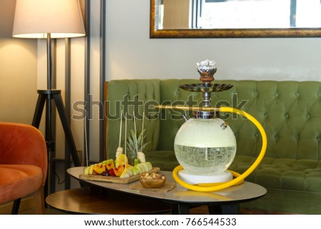 Traditional Arabic and Turkish shisha pipes hookah or Water pipe serving with fresh fruits hot & Traditional Arabic Turkish Shisha Pipes Hookah Stock Photo (Royalty ...