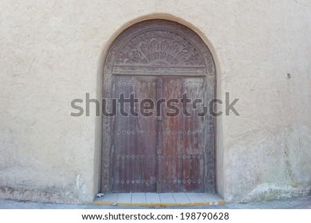 traditional arabic door background - stock photo