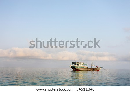 Traditional Arabic fishing boat - stock photo
