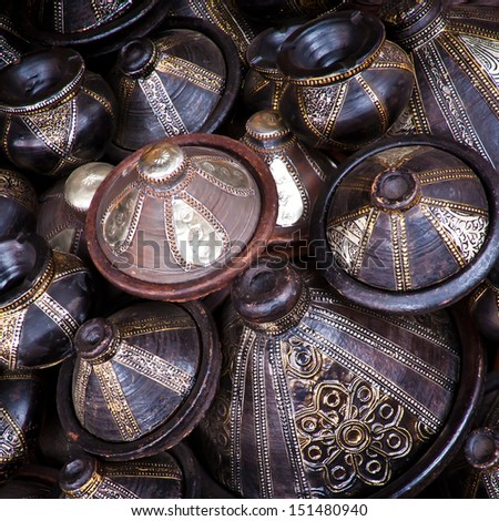 Traditional arabic handcrafts shot at the market in Marrakesh, Morocco. - stock photo