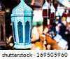 Traditional arabic lamp at souvenir shop in Dubai, UAE - stock photo