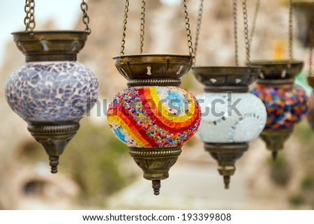 Traditional arabic lamps in the Grand Bazaar - stock photo