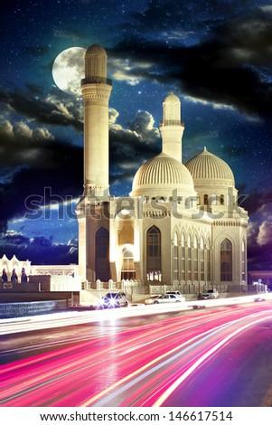 Traditional Arabic Mosque In Azerbaijan - stock photo