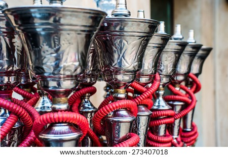 traditional arabic shisha pipes hookah - stock photo